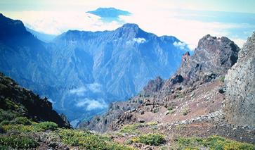 Blick vom höchsten Berg La Palmas